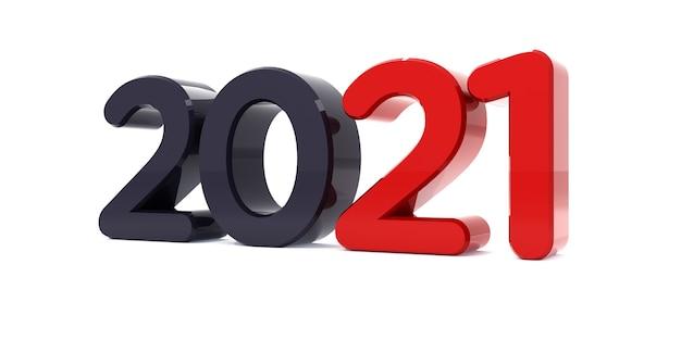 Bonne année 2021 célébration texte 3d. modèle de calendrier de numéro rouge 2021