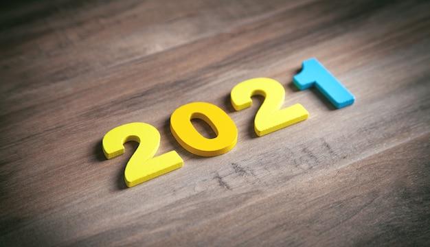 Bonne année. 2021 sur fond de bois