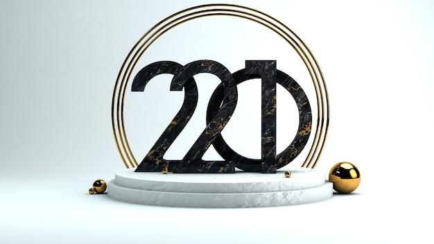 Bonne année 2021. gros nombres 3d sur podium circulaire