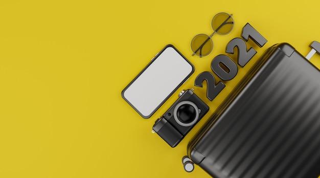 Bonne année 2021: maquette mobile à écran blanc avec appareil photo, bagages et lunettes de soleil