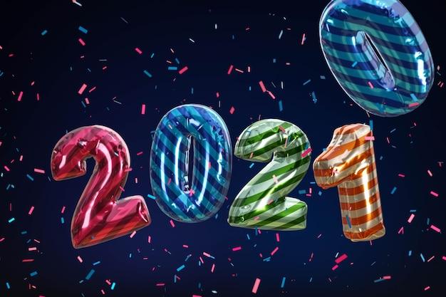 Bonne année 2021. numéros de couleur métalliques bollon.