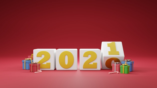 Bonne année 2021. numéros d'or sur boîte blanche avec coffrets cadeaux et ballon. illustrateur 3d