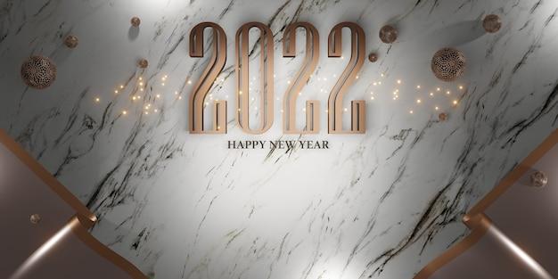 Bonne année 2022 noël et nouvel an fond illustration 3d