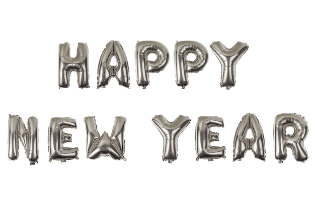 Bonne année alphabet anglais de ballons sur fond blanc