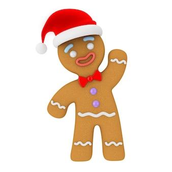 Bonne année concept. biscuit de bonhomme en pain d'épice en chapeau de père noël sur fond blanc. rendu 3d