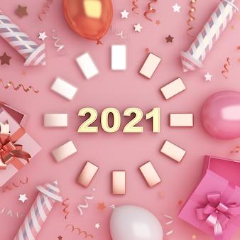 Bonne année décoration fond avec barre de chargement de boîte cadeau ballon