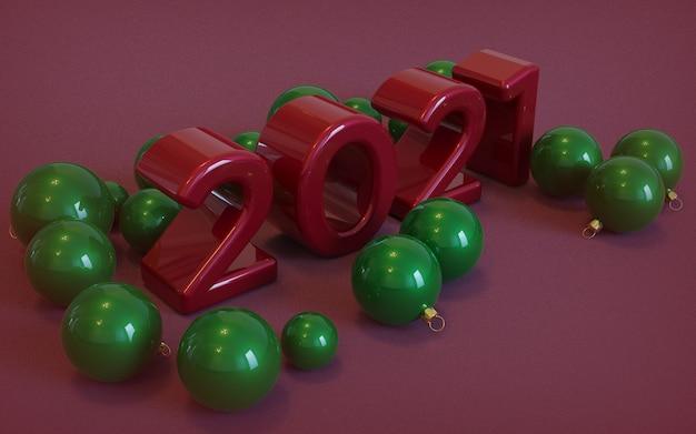 Bonne année, grands nombres arrondis rouges 3d sur fond rouge, avec des boules de noël vertes tout autour.