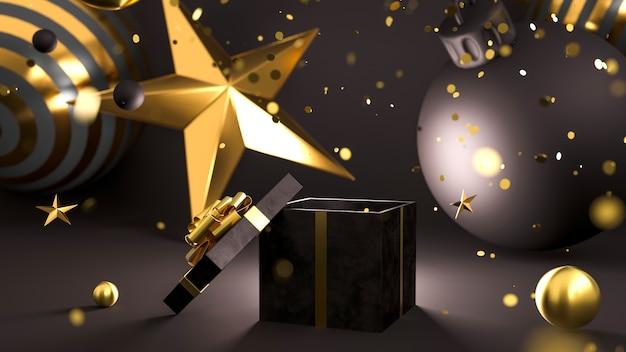 Bonne année ou noël ouvert boîte cadeau noire