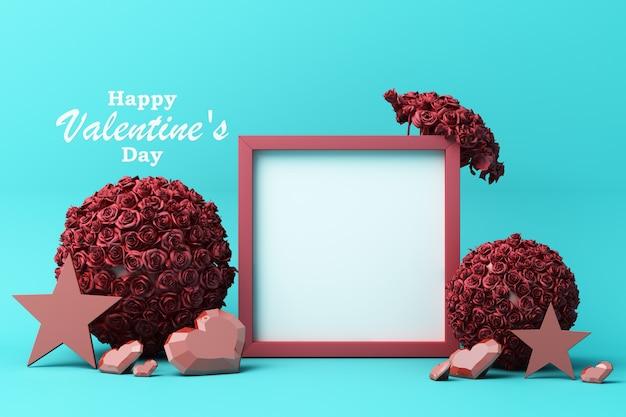 Bonne carte de voeux saint valentin avec des coeurs rouges et roses étoile rose avec cadre carré blanc et décoration d'amour rendu 3d