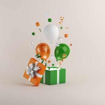 Bonne fête de la république indienne avec ballon et coffret cadeau