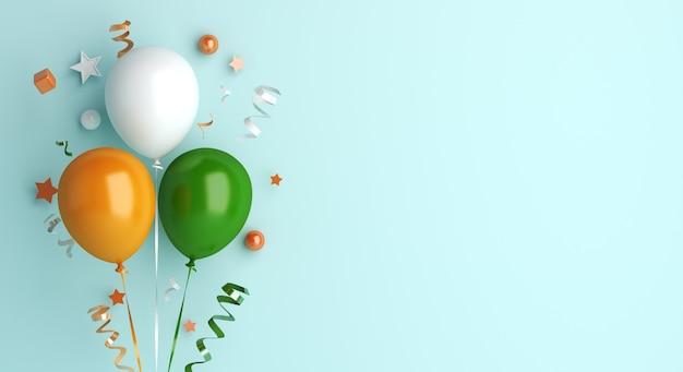 Bonne fête de la république indienne avec ballon et confettis