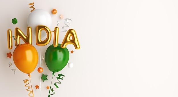 Bonne fête de la république indienne avec ballon et texte