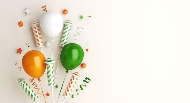 Bonne fête de la république indienne avec fusée de feu d'artifice ballon
