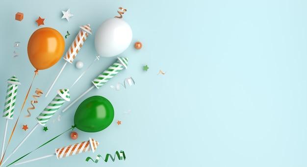 Bonne Fête De La République Indienne Avec Fusée De Feu D'artifice Ballon Photo Premium