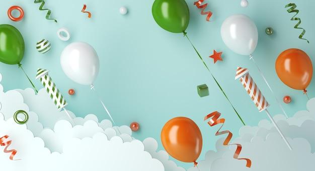 Bonne fête de la république indienne avec nuage de fusée feu d'artifice ballon