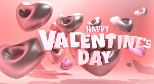 Bonne illustration 3d de la saint-valentin avec ballon coeur et texte 3d flottant