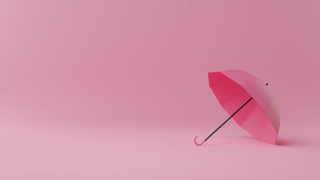 Bonne saison de la mousson. parapluie sur rose. illustration de rendu 3d.