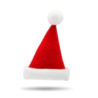 Bonnet de noel rouge sur fond blanc