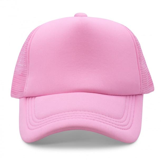 Bonnet rose isolé sur fond blanc.