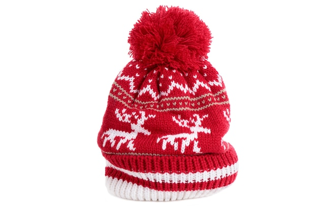 Bonnet de ski d'hiver à pompon renne rouge
