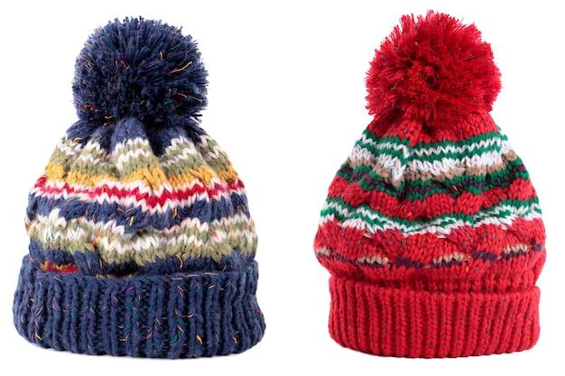 Bonnet de ski pompon hiver bleu rouge