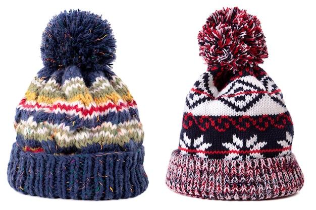 Bonnet de ski pompon hiver motif rouge bleu