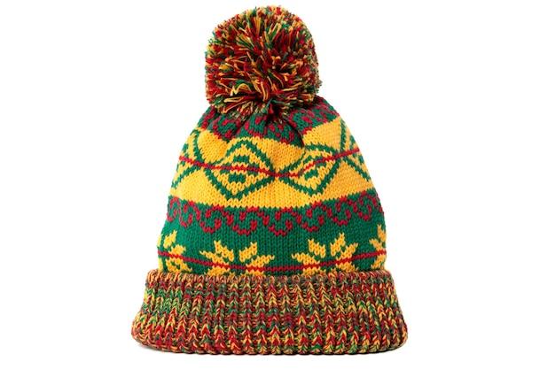 Bonnet de ski pompon hiver motif vert jaune