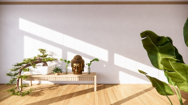 Bonsaï sur meuble en bois sur mur style zen et décoration en bois decoraion, ton terre.