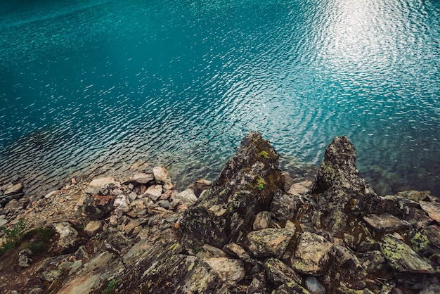 Bord d'eau pierreux du lac de montagne azur