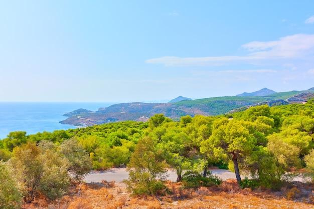 Bord de mer de l'île d'egine près de la station balnéaire d'agia marina, îles saroniques, grèce. paysage grec