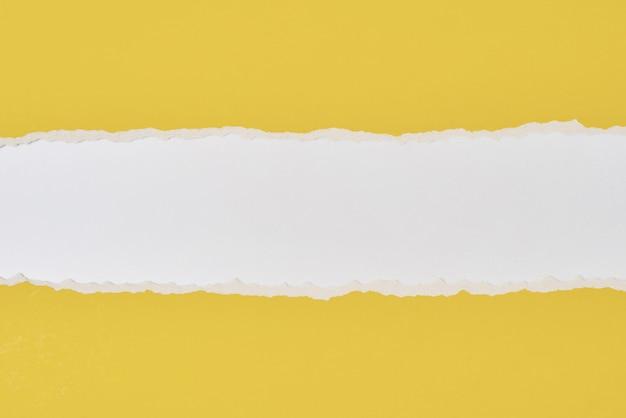 Bord de papier déchiré déchiré avec un espace de copie, fond de couleur blanc et jaune