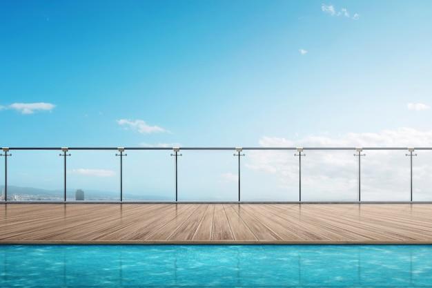Le bord de la piscine sur le balcon de l'immeuble