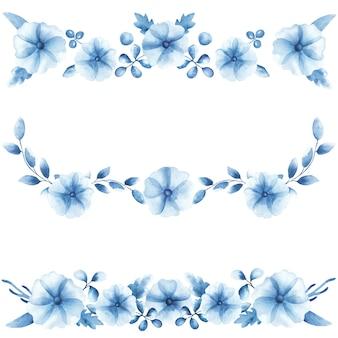 Bordure aquarelle avec des coquelicots bleus et des feuilles isolées sur fond blanc. le design délicat avec des fleurs sauvages est parfait pour l'impression sur textile, papier peint, scrapbooking, carte