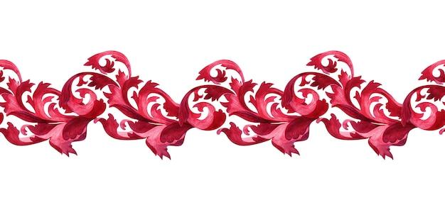 Bordure aquarelle avec des éléments stylisés de la plante d'acanthe