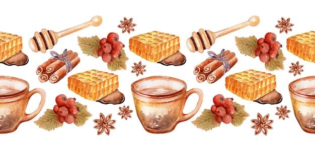 Bordure aquarelle avec des éléments sur le thème de l'automne thé au miel parfumé