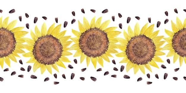 Bordure aquarelle avec tournesols lumineux, feuilles et bourgeons de la plante