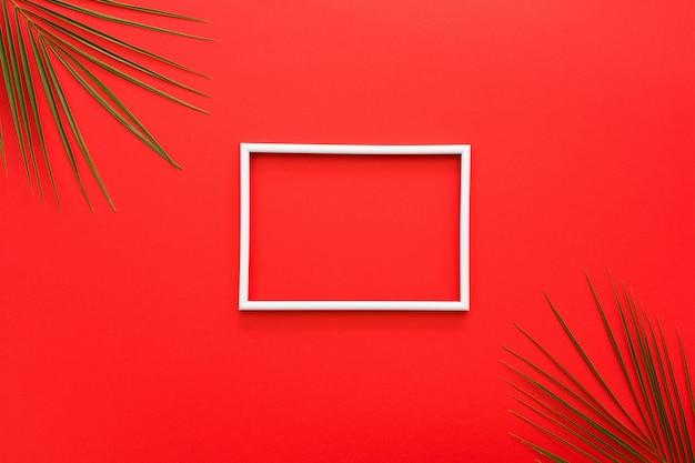 Bordure blanche du cadre et des feuilles de palmier sur une surface rouge