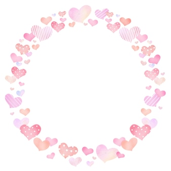 Bordure de cadre de carte cercle avec motif coeur dessiner à la main