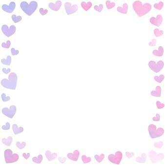 Bordure de cadre de carte avec motif d'amour dessiner à la main