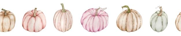 Bordure de citrouille de thanksgiving aquarelle.