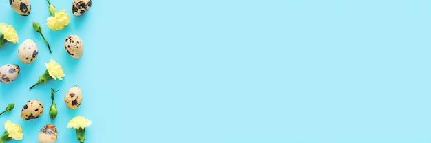 Bordure de fleurs et d'oeufs de printemps. fleurs jaunes et oeufs de caille sur fond bleu avec espace de copie. bannière de vue de dessus plat laïque créatif.