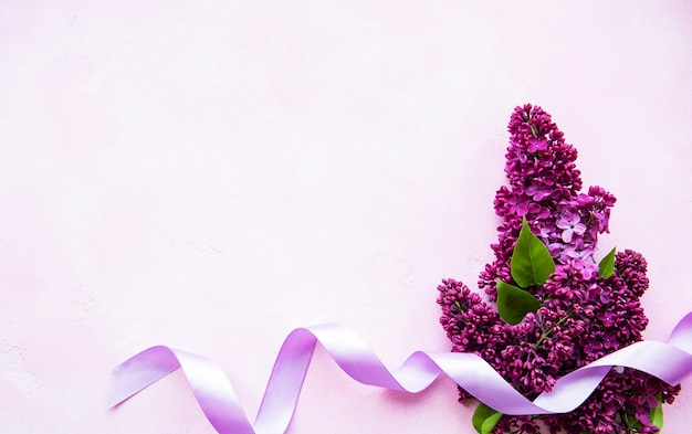 Bordure de fleurs de printemps lilas