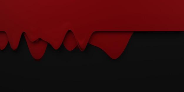 Bordure de goutte de sang halloween flux sanguin fond rouge liquide fond noir illustration 3d