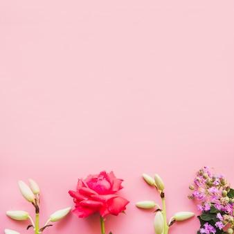 Bordure inférieure faite avec des fleurs décorées sur fond rose