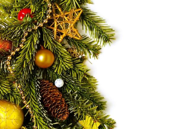Bordure de noël gauche décorée de branche de sapin frais