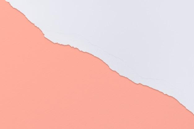 Bordure de papier déchiré en corail sur fond coloré fait main