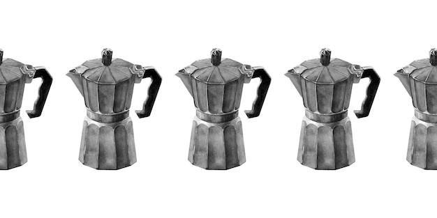Bordure transparente aquarelle avec attributs de café et café