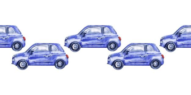 Bordure transparente aquarelle avec des voitures, des panneaux de signalisation, des cartes et des feux de circulation