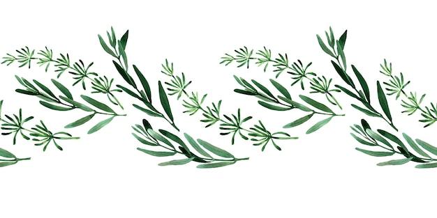 Bordures sans couture aquarelle avec des fleurs de printemps, des bourgeons et des brindilles avec des feuilles