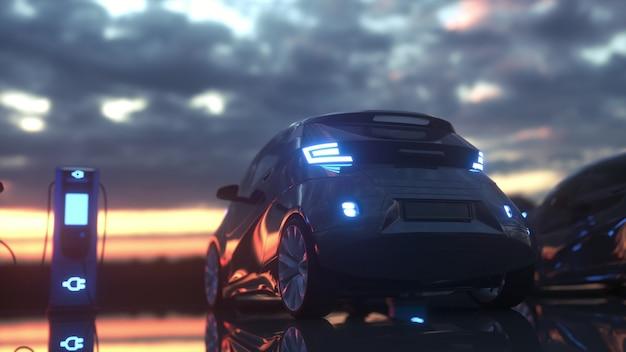 Borne de recharge pour voitures électriques. voitures électriques à la borne de recharge. rendu 3d.